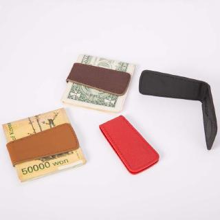 Mini magnet pu leather wallet new retro leather super thin magnetic banknote check clip