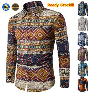 Autumn and Winter Men's New Long Sleeve Batik Shirts Fashion Casual Printed Large Size Shirt Ready Stock 7 Colors