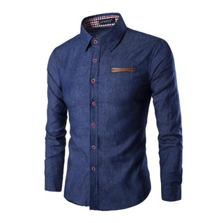 Summer Men's Slim Fit Imitation Denim Fabric S-3XL Ready StockLong Sleeved Shirt