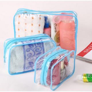 Travel PVC Cosmetic Bags Women Transparent Clear Zipper Makeup Bags Organizer blue