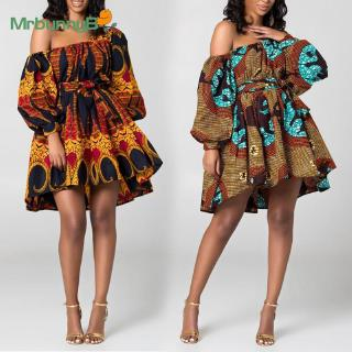 Dress Sexy Sundress Cocktail African Swing Mini Traditional Printed Loose Long sleeve Off shoulder Belt Summer