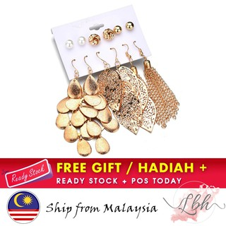 [LBH] Gold Color Hollow Leaf Shapes Water-Drops Long Tassel Six Pairs Of Earrings - ER328