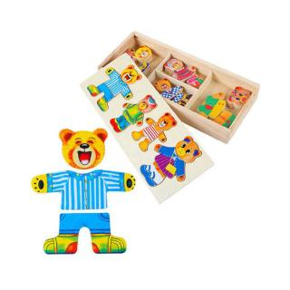 Wooden Dress Up Bear Dressing Jigsaw Wooden Puzzle Educational Toys