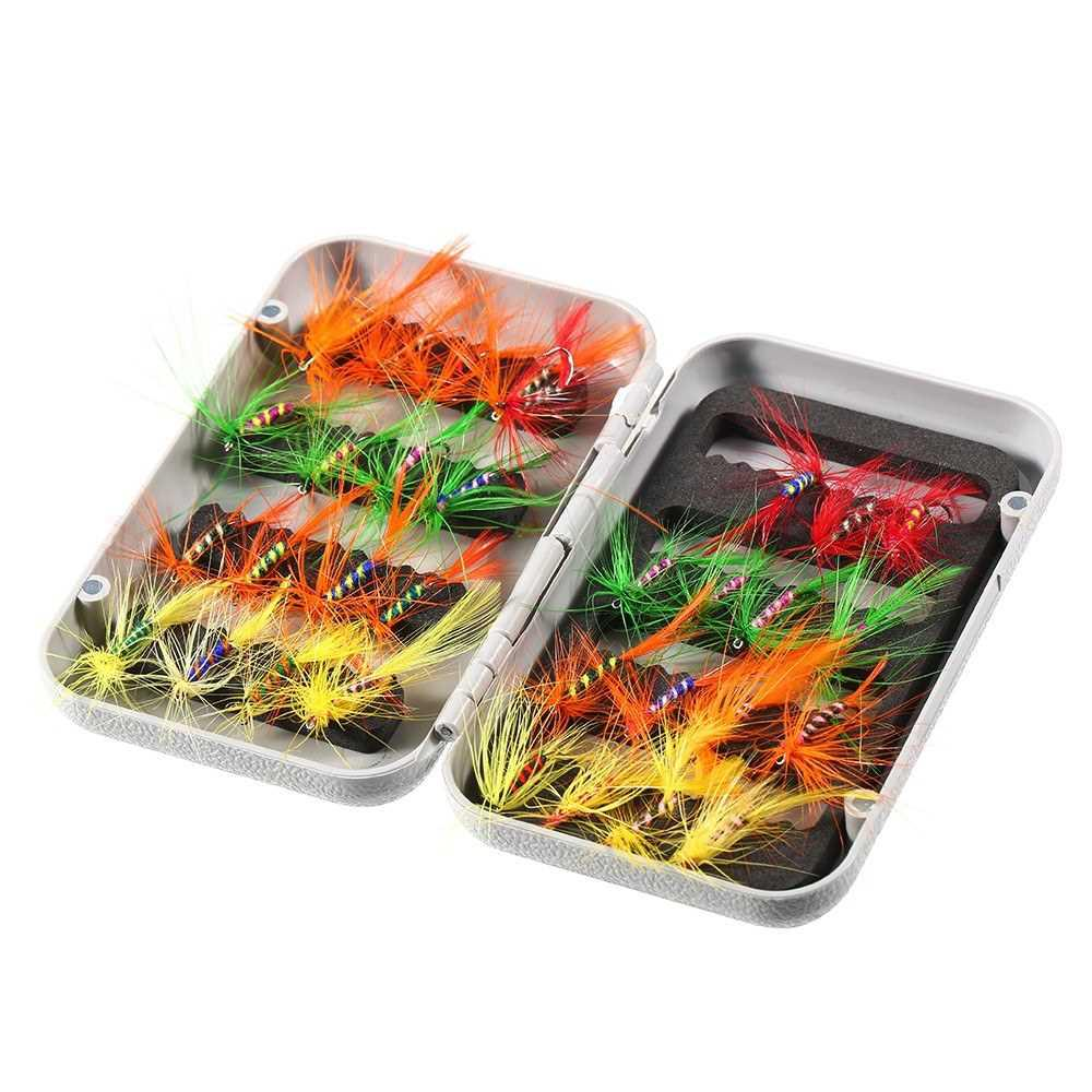 32pcs Fly Fishing Lure Set Artificial Bait with Hooks Carbon Steel (#1)