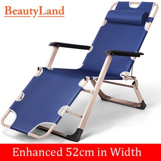 BeautyLand Adjustable Steel Reclining Deck Lounge Beach Chair Outdoor Seat Leisure Folding Camping Tanning Folding Relax