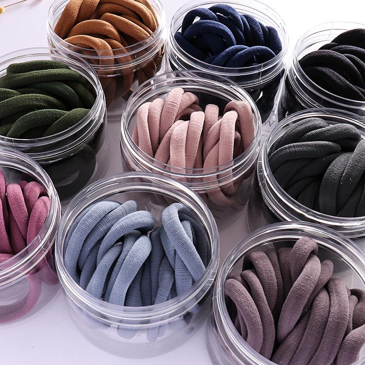 20pcs Glossy Korean Plain Simple Seamless Without Injury High Elastic Hairties
