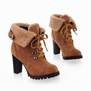 [ReadyStock] Women's Winter Casual Plush Boots Lace-up High Heel Ankle Boots