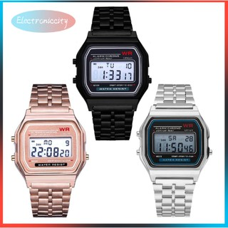 【 Ele 】 LED Digital Quartz Wrist Watch Dress Men Women Golden Wrist Watch