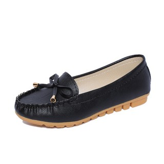 Women's Casual Flat Shoes Shallow Mouth Shoes -Black