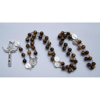 [Spot] natural 3A grade boutique tiger eye stone Roman exorcism rose long rosary
