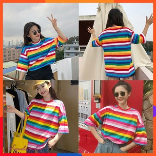 🔥INS Hot Sale🔥Rainbow Color Women Causal Summer Fashion Loose T Shirt Tops