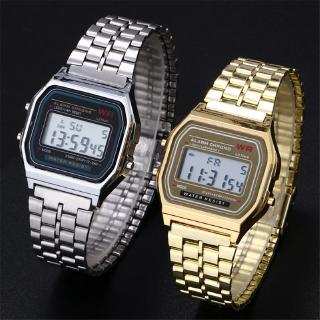 Modish Men's Women's Vintage Stainless Steel Band LCD Digital Sports Wrist Watch Gift