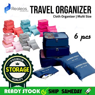 6 in 1 Realeos Travel Organizer Storage Bag Cloth Laundry Multi Size - R665