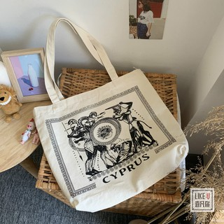 recycle bagSouth Korea niche contracted single shoulder bag female Cyprus Greek pictorial canvas restoring ancient way