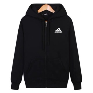 Adidas Sweater Hoodie Zip Cotton Tebal Unisex
