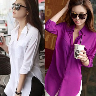🌱Discount🌱Long Sleeve Chiffon Shirt Turn-down Collar Casual Loose Tops Blouse