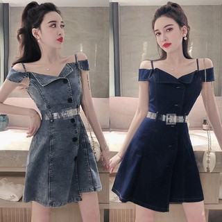 Ready Stock 2019 summer new irregular waist denim sling net red dress short skir