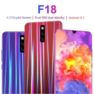 The New F18  6.3 Inch HD HD Water Drop Screen Android 8.1 System MTK6797 Ten Core Chip 6+128G Smart Phone EU Plug