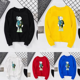 ✨ Xiaozhang ღKAWS Sesame Street Anatomical Pattern Autumn Winter Couple Round Collar Sweater