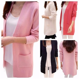 Ready Stock Korean Loose Long Cardigan Women Pocket Knit Fashion Outerwear