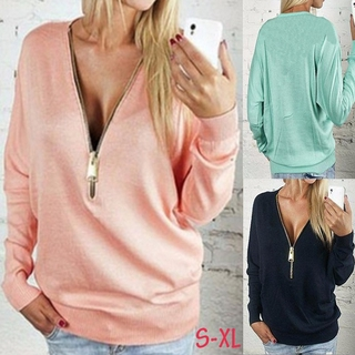 Women Autumn Long Batwing Sleeves Plus Size Loose Sweater T-shirt Tops