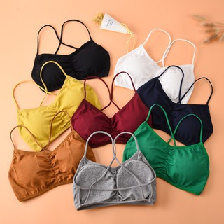 Ready Stock💕Upgraded version of multi-color good wear cotton detachable chest pad beauty back cross small cute bra