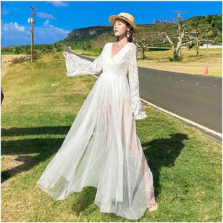 Sexy Women Long Sleeve White Maxi Bohemia Holiday Beach Dress