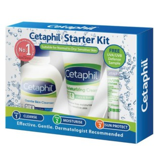 CETAPHIL Starter Kit (GentleSkin Cleanser+Moisturising Cream+UVA/UVB Defense