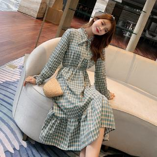 Dress autumn 2019 new Korean version of the long section with a bow plaid