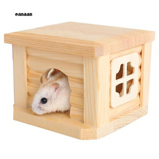CAN_Cute Natural Wooden Cabin Hamster House Flat Roof Pet Playing Toy Cage Ornament