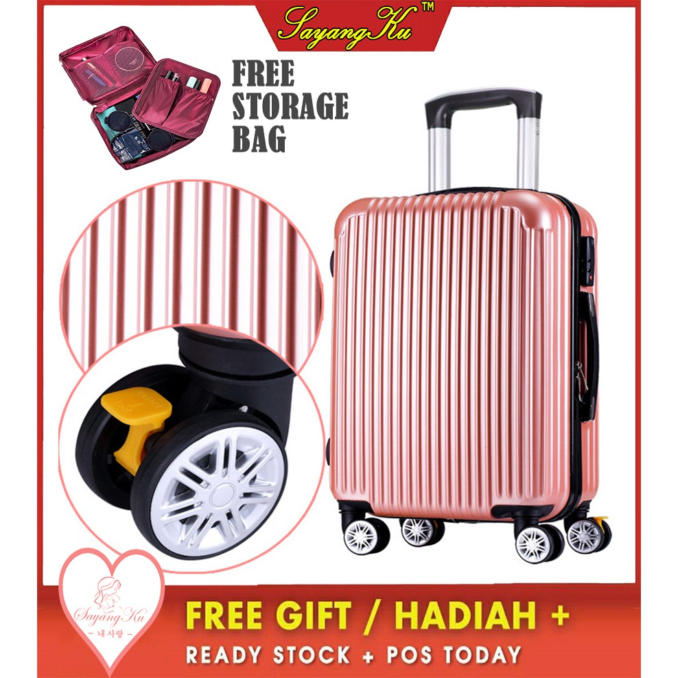 [M'sia] ReadyStock Premium High Quality Travel ABS Luggage With Free Gift Flat L1