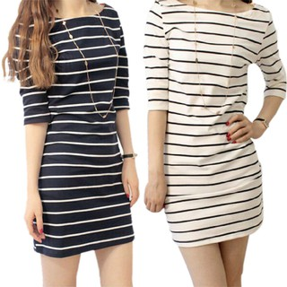 beefashionKorean Women Dress Stripe Mini Dress Casual Dress Clothing