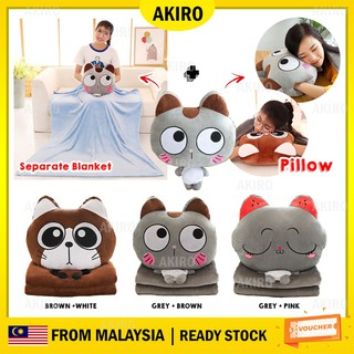 AKIRO 3 in 1 Premium Multipurpose Cushion Soft Light Pillow Blanket Cartoon Animal Hand Warmer Cute Kitty Soft Plush Toy