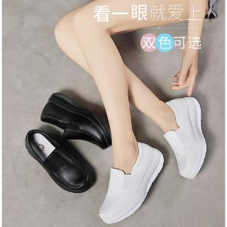 Ready Stock Women White Shoes Leather Platforms Comfortable Nurse Shoes
