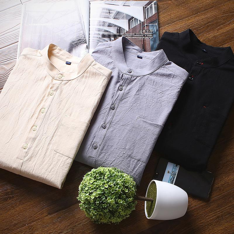 Ready Stock!! Men's Fashion Linen Shirt Short Sleeve Slim Fit Leisure Shirt