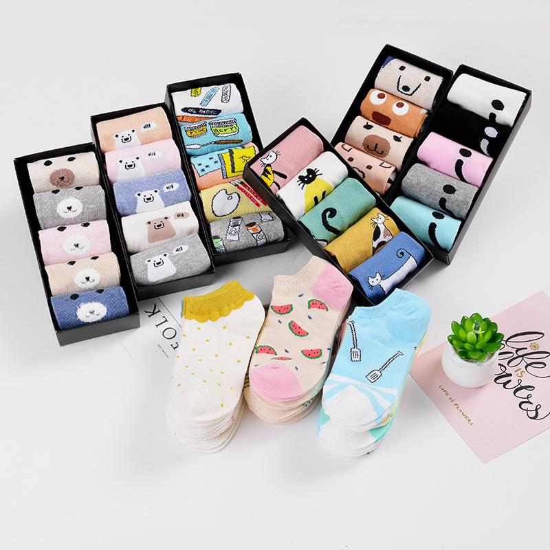 5 Pairs/Box Cute Cartoon Socks Cotton Ankle Week Crew Socks