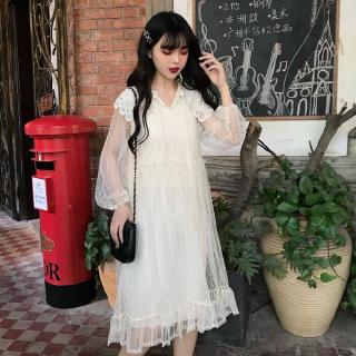 Pink Girl white dress women ins very fairy French niche spring clothing new net yarn fairy korean dress