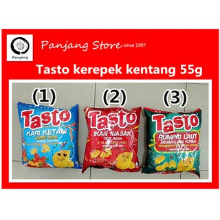 Halal Tasto Potato Chips Three Flavours Fish Curry Crab Seaweed with Korean Sauce Flavor Brand Thai 55g