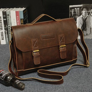 Men's Leather Messenger Shoulder Bags Business Work Briefcase Laptop Bag