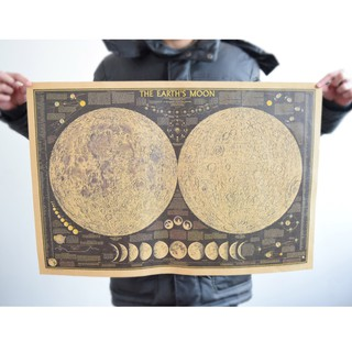 Vintage Style Retro Moon Map Lunar Poster Paper Art Posters