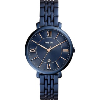 [Official Warranty] Fossil Women's Jacqueline Blue Dial Rose Gold Hand Watch ES4094