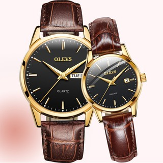 Fashion Couple Watches Brown Leather Business Men Watch Women Watches Quartz Waterproof Luminous Watch Date Jam Tangan