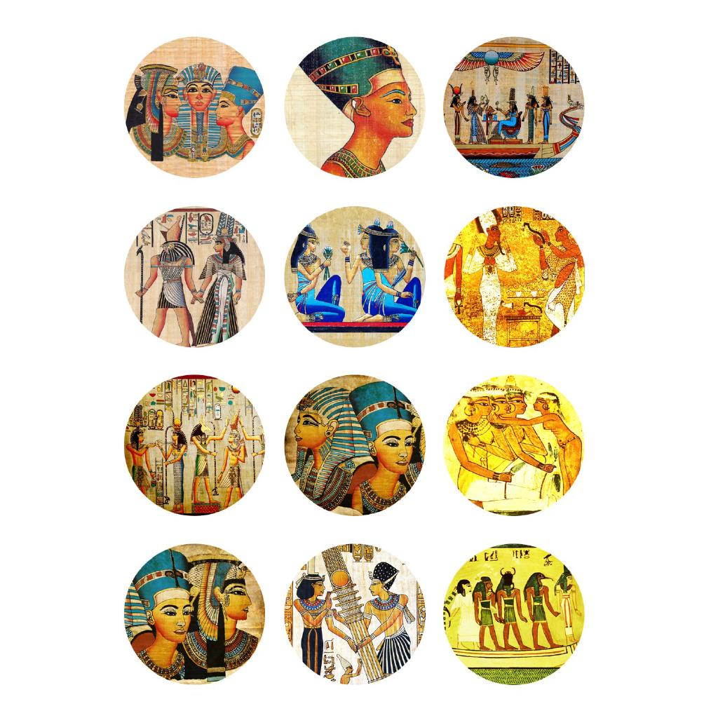 40pcs Handmade Round Cabochons Accessories Pattern Egypt Art Paintings 1619