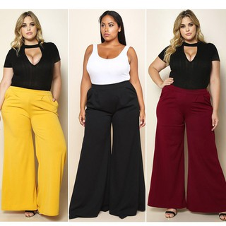 Womens Plus Size Wide Leg Pants Loose Long Pants Red Yellow Black