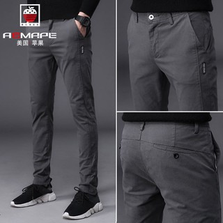 Free gift Men's Korean Slim Fit Casual Pants Cotton Stretch Long Seluar Chinos Trousers