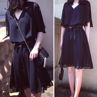 Elegant Midi Dress Women Chiffon Dinner Dress High Waist Black Peplum Long Dress