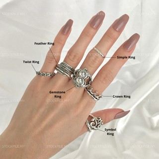 READY STOCKSilver Ring Men Gemstone Crown Boho Jewellery Fashion Murah Lelaki Feather Crown Accessory