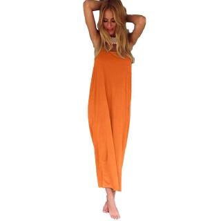 Boho Women Long Maxi Gown Casual Beach Holiday Sundress (Orange)