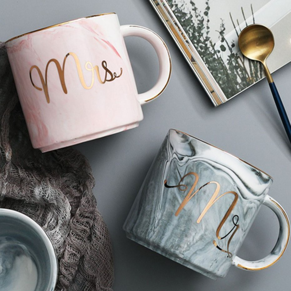 Marble Ceramic Mugs Gold Plating MRS MR Couple Lover's Gift Mug Milk Coffee Cup