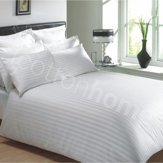 GH: 100% Cotton Sateen 600 TC: Fitted Sheet Set: 1cm Stripe- HOTEL SERIES